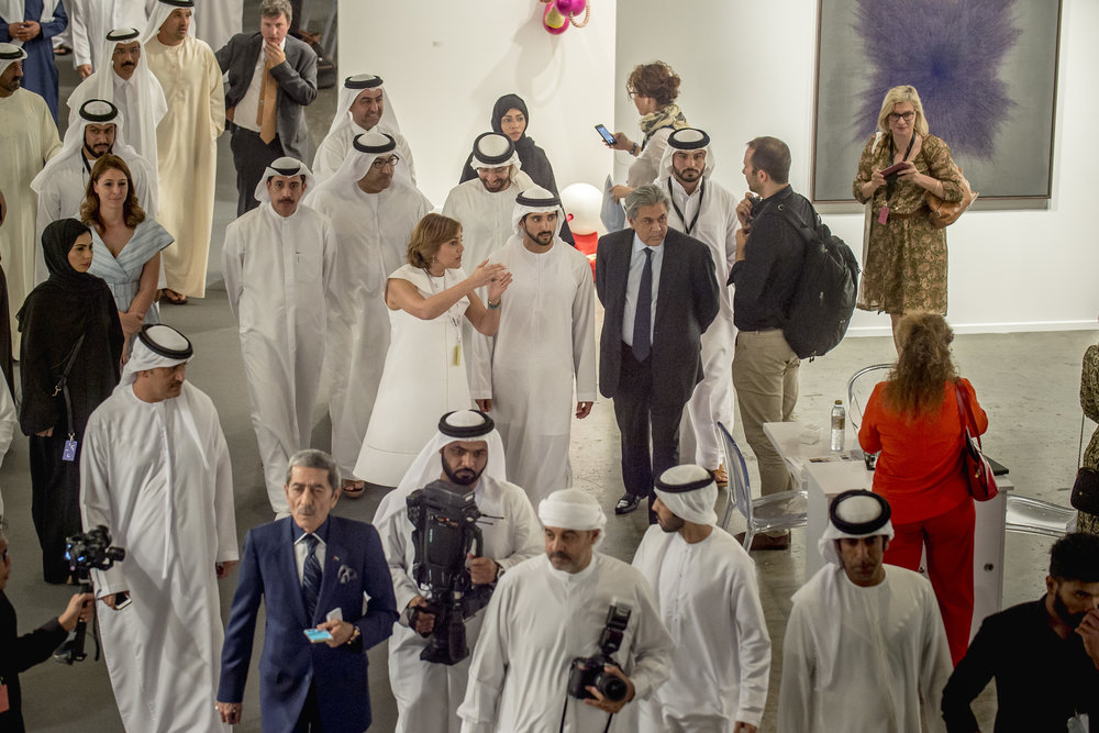 His Highness Sheikh Hamdan bin Mohammed bin Rashid al Maktoum and Myrna Ayad, director of the fair at the opening of Art Dubai 2017. Courtesy of Photo Solutions.