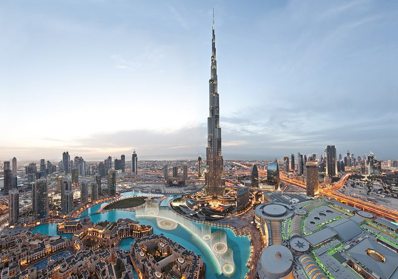 The Burj Khalifa and the Dubai Mall - two of the world's largest buildings in terms of height and scale.