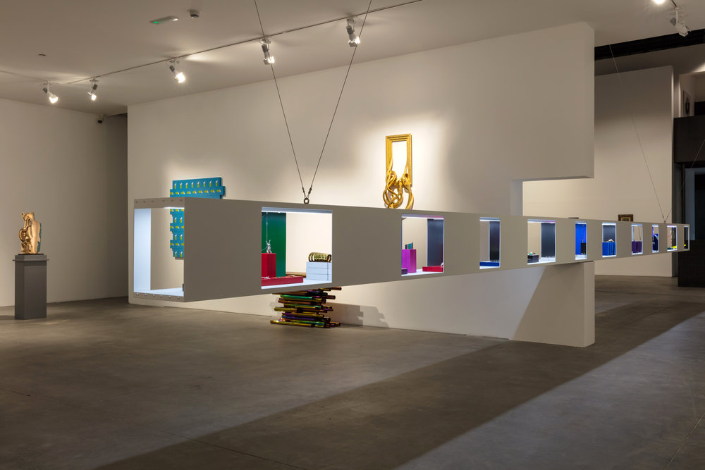 Art & Jewelry. Installation view of the display cabinet housing more than 80 pieces of wearable art at Custot Gallery, Dubai. ©Pia Torelli. Copyright Vincent Coste Architecte