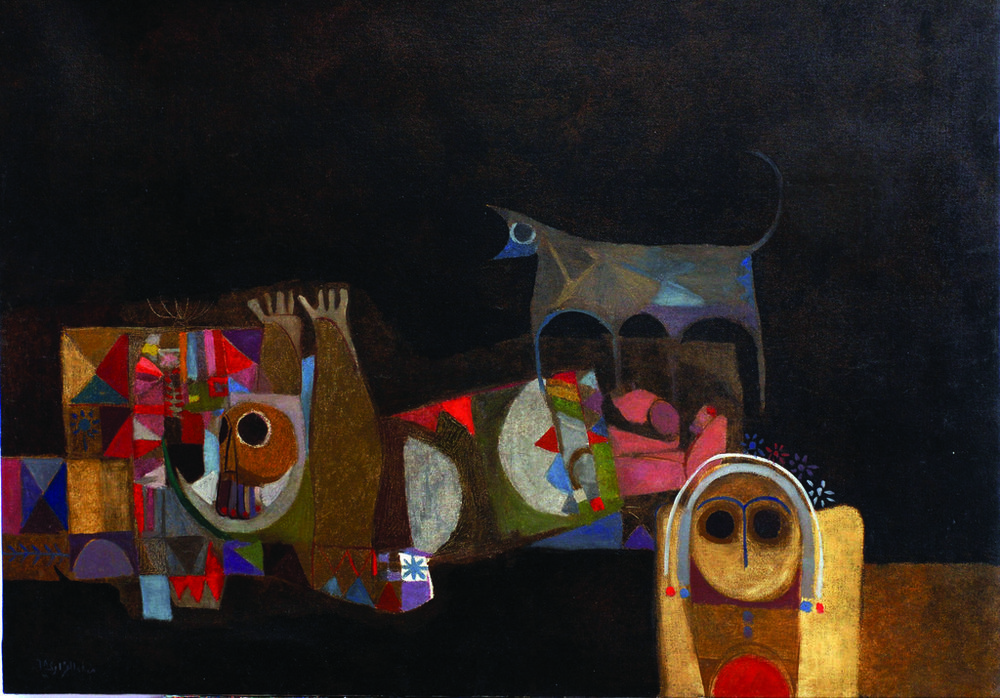 Dia Azzawi.  A Wolf Howls: Memories of a Poet (1968).  Courtesy of the Barjeel Art Foundation.