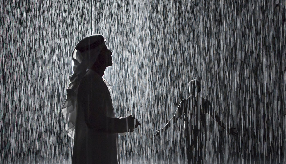 Random International, Rain Room, 2012. Exhibited at Sharjah Art Foundation, 2018. Image courtesy of Sharjah Art Foundation