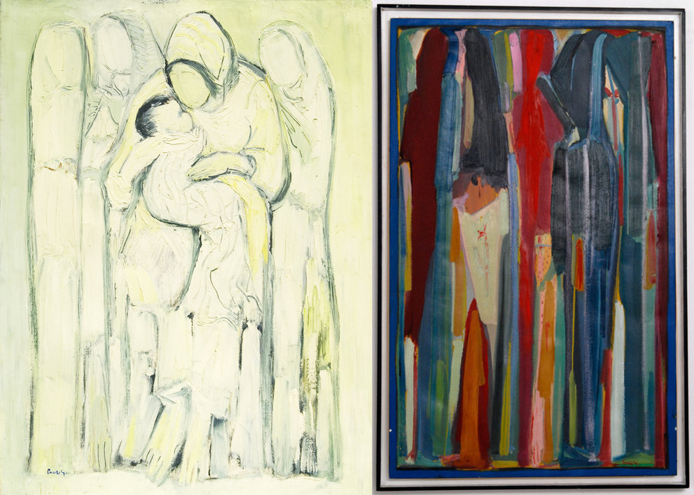 (L) Le Centre Du Monde (1983) by Paul Guiragossian. From the collection of HE Zaki Nusseibeh. (R) Silhouettes (1987) by Paul Guiragossian. On loan from the collection of the Salama bint Hamdan Al Nahyan Foundation. Images courtesy of Barjeel Art Foundation.
