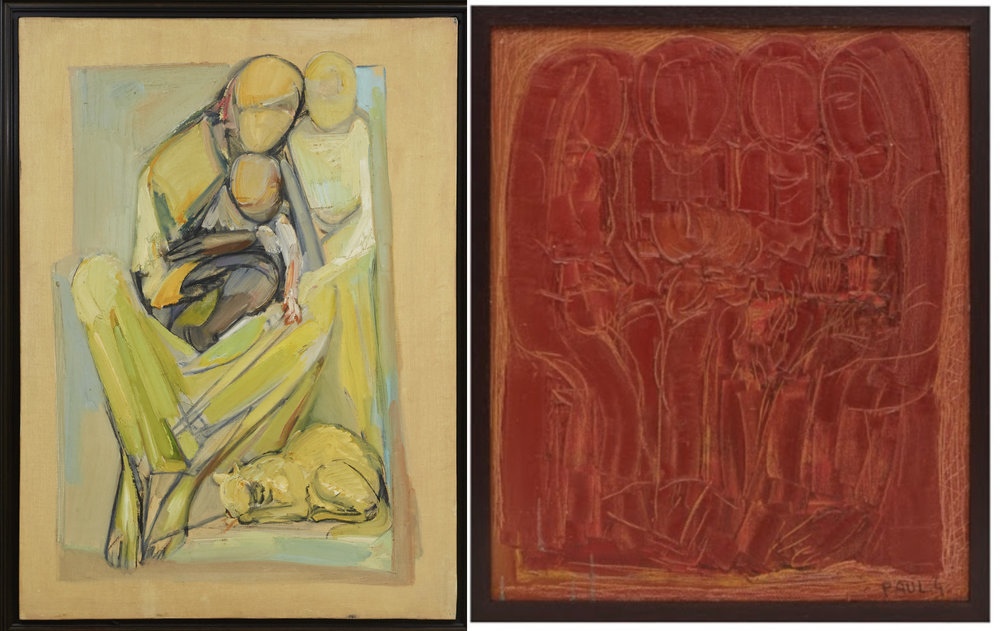 (L) L'Enfant (1978) by Paul Guiragossian from the collection of Dr. Anwar Gargash. (R) Group with Flowers (1963) from the Barjeel Art Foundation collection. Both images courtesy of Barjeel Art Foundation