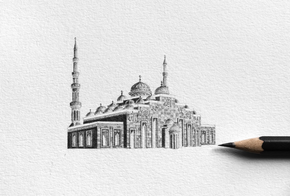 Mariam Abbas. Miniature Masjid - D. Graphite on paper. Courtesy of the artist.