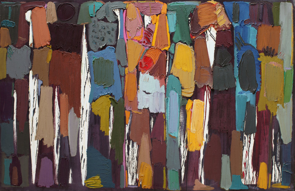 Composition (La Grande Charge), 1990-91. Oil on canvas. 130 x 200 cm. Paul Guiragossian Estate collection, Lebanon.
