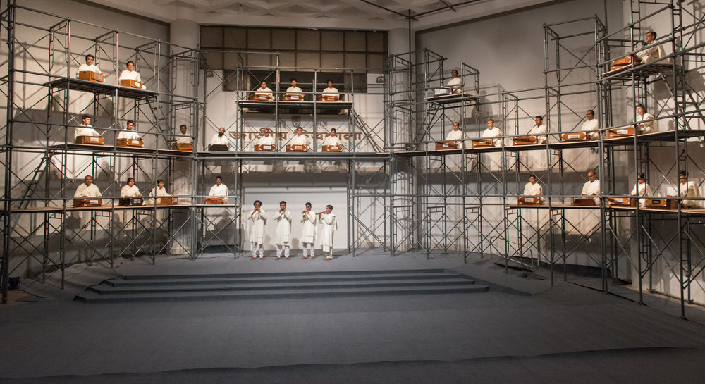 Harano Sur (Lost Tune), 2017-2018. Performance by Reetu Sattar with 35 musicians and 30 harmoniums. Duration: 1 hour. Co-commissioned by Samdani Art Foundation and the Liverpool Biennial in association with the New North New South and the Archaeology of the Final Decade. Photo Credit: Pranabesh Das