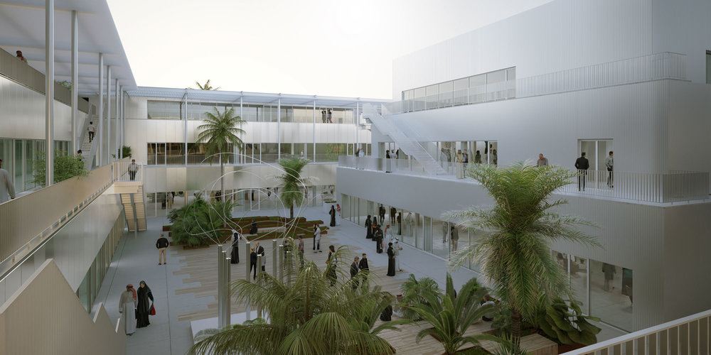 A rendering of the interior courtyard of Hayy: Creative Hub to open in Jeddah next year.