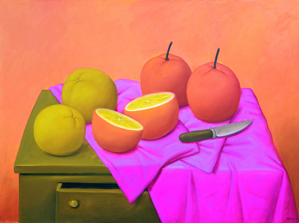 Fernando Botero, Oranges (2004), oil on canvas. Courtesy Custot Gallery Dubai and the artist.