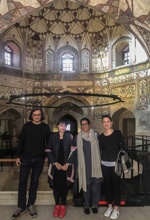 At the Shahi Hammam, Walled City, Lahore. Left to Right: Iftikhar Dadi (Advisor, LB02), Hoor Al Qasimi (Curator, LB02), Qudsia Rahim (Executive Director, LBF and Director, LB02) and Ayesha Jatoi (Advisor, LB02). Image courtesy of Lahore Biennale Foundation