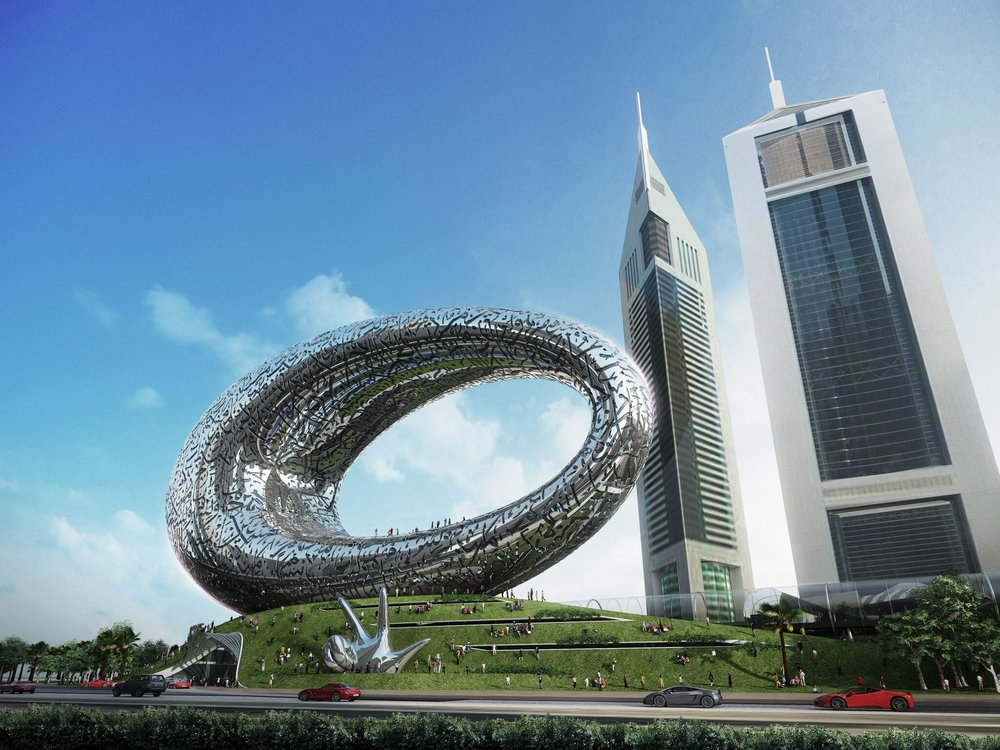 Rendered image of the future Museum of the Future along Sheikh Zayed Road in Dubai, with the Emirates Towers in the background. Image courtesy Dubai Future Foundation