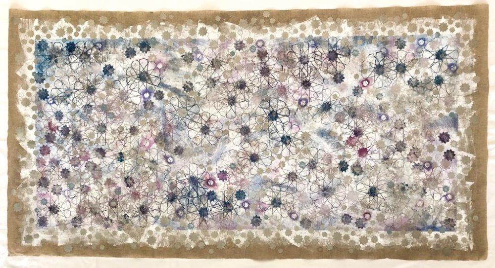 Jessica Watson-Thorp, Bismillah, 2018. Monoprint on linen. Courtesy of Mestaria and the artist.