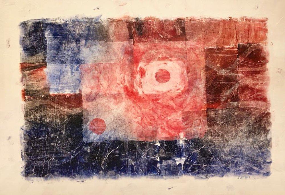 Jessica Watson-Thorp, Ard I, Landscape - 2018. Monoprints on acid free tissue glazed onto canvas. Courtesy of Mestaria and the artist.