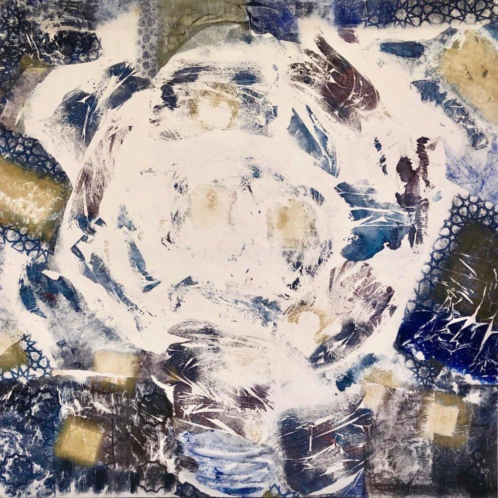 Jessica Watson-Thorp, Athiri - Ethereal, 2018. Monoprints on acid free tissue glazed onto canvas. Courtesy of Mestaria and the artist.