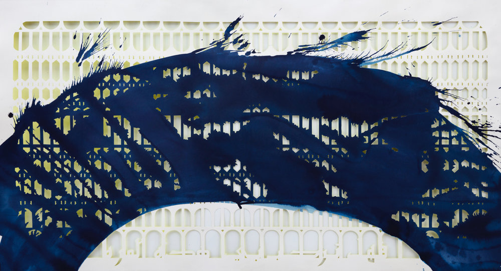 Sherin Guirguis, Azbakeya (Will You Welcome Me This Time), 2018. Hand cut paper, ink and acrylic paint. 35 x 63. Courtesy of the artist and The Third Line.