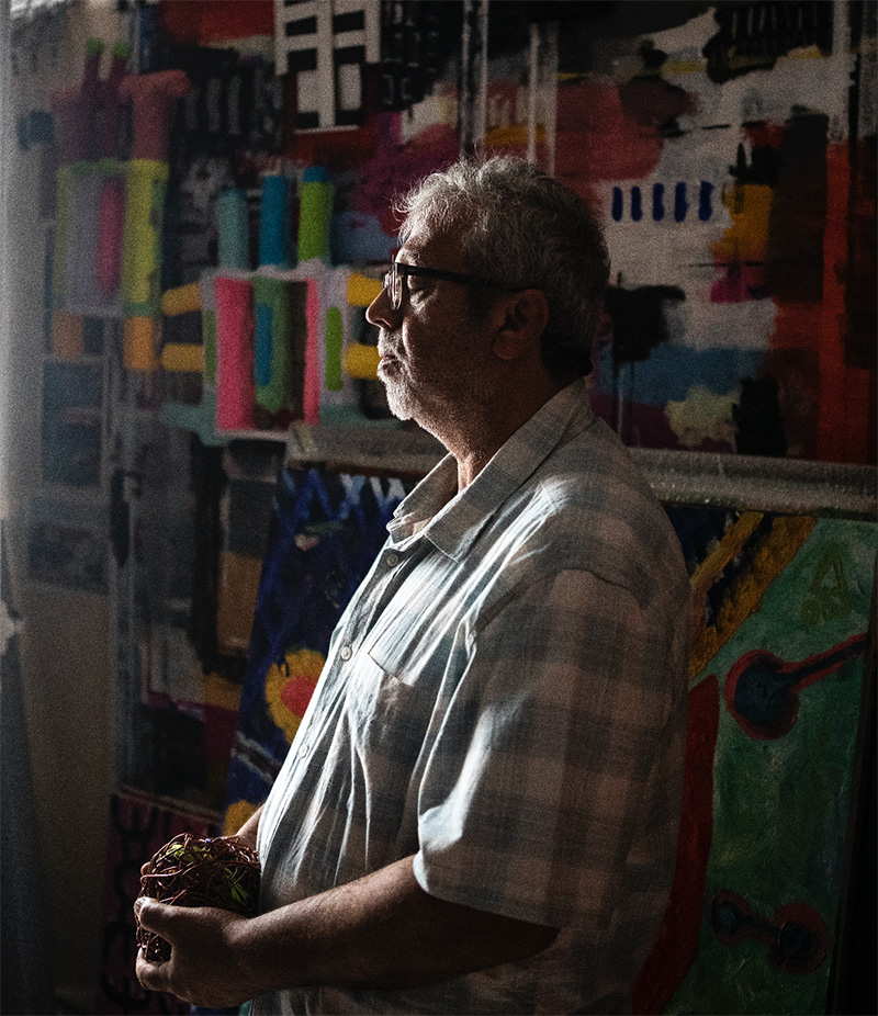 Mohammed Ahmed Ibrahim in his studio in Khorfakkan. Photo courtesy of Selections magazine, taken by Natalie Naccache.