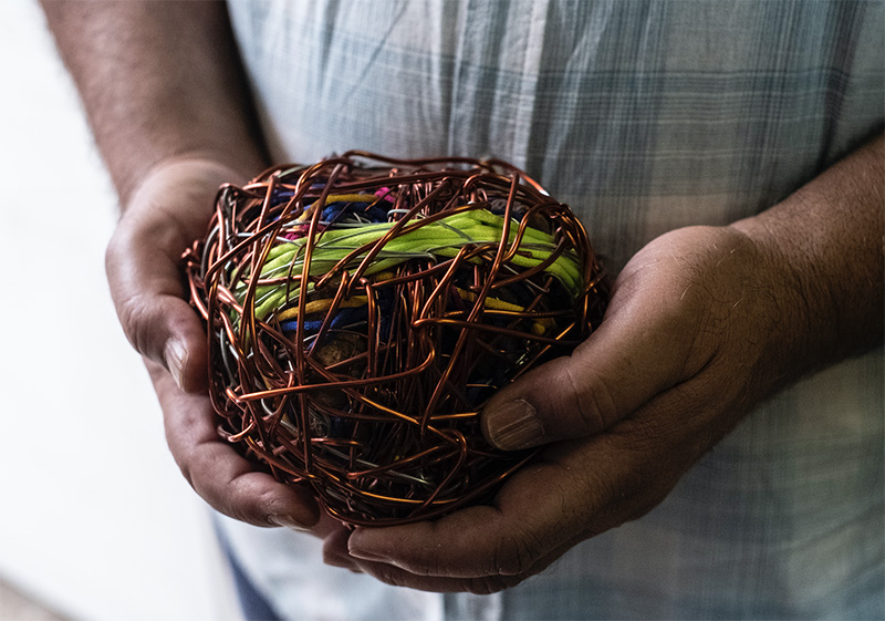 Ibrahim enjoys making sculptures from abstract shapes, forms and material. Image taken by Natalie Naccache.