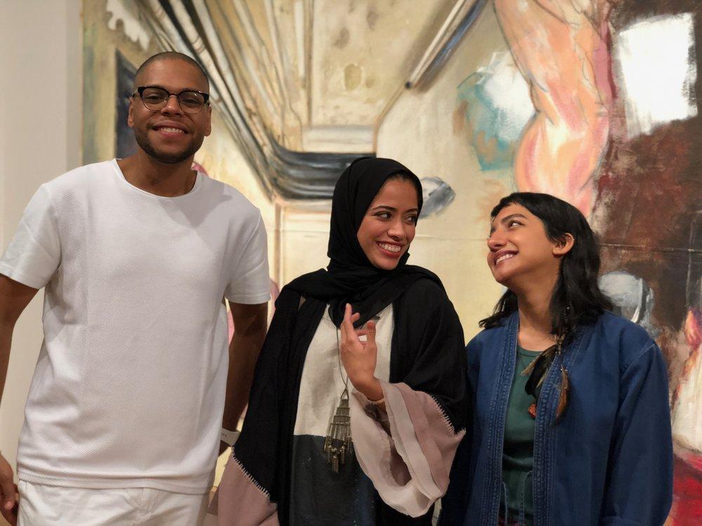 L-R: The core team behind Bait 15, one of Abu Dhabi's homegrown artistic collectives. Hashel Al Lamki, from Al Ain; Afra Al Dhaheri, from Abu Dhabi; Maitha Abdalla, originally from Khorfakkan. Courtesy Bait15