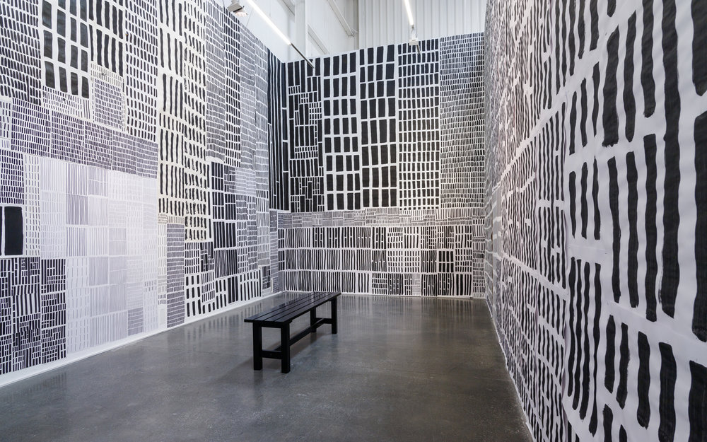 Mohammed Ahmed Ibrahim's installation room in his solo exhibition at Lawrie Shabibi Gallery in March 2019. Image courtesy Lawrie Shabibi.