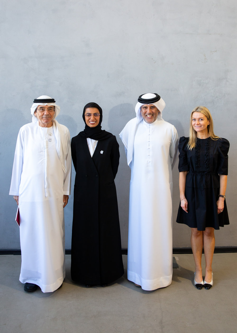 HE Noura Al Kaabi, HE Zaki Nusseibeh, Abdelmonem Bin Eisa Alserkal and Vilma Jurkute at the announcement of Alserkal Arts Foundation.