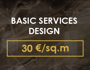 THE COST OF THE BASIC DESIGN PROJECT - 30 € / sq.m. ( Basic drawings and 3D visualizations).  Design term starts from 1 month,  depending on the scope of work.  The project includes:  - the first visit of the site; - primary exit to the site; - fancy plan; - planning solution (furniture and equipment plan); - plans for dismantling and installing walls; - a plan of ceilings indicating the heights and sections; - electrical plan; - plan of lighting; - water supply plan with equipment connections; - plan floor coverings with the miscalculation of areas and the specification of materials; - specifications of materials used, furniture, lighting; - photorealistic visualization of the interior (2 angles for each of the previously agreed zones of the object).