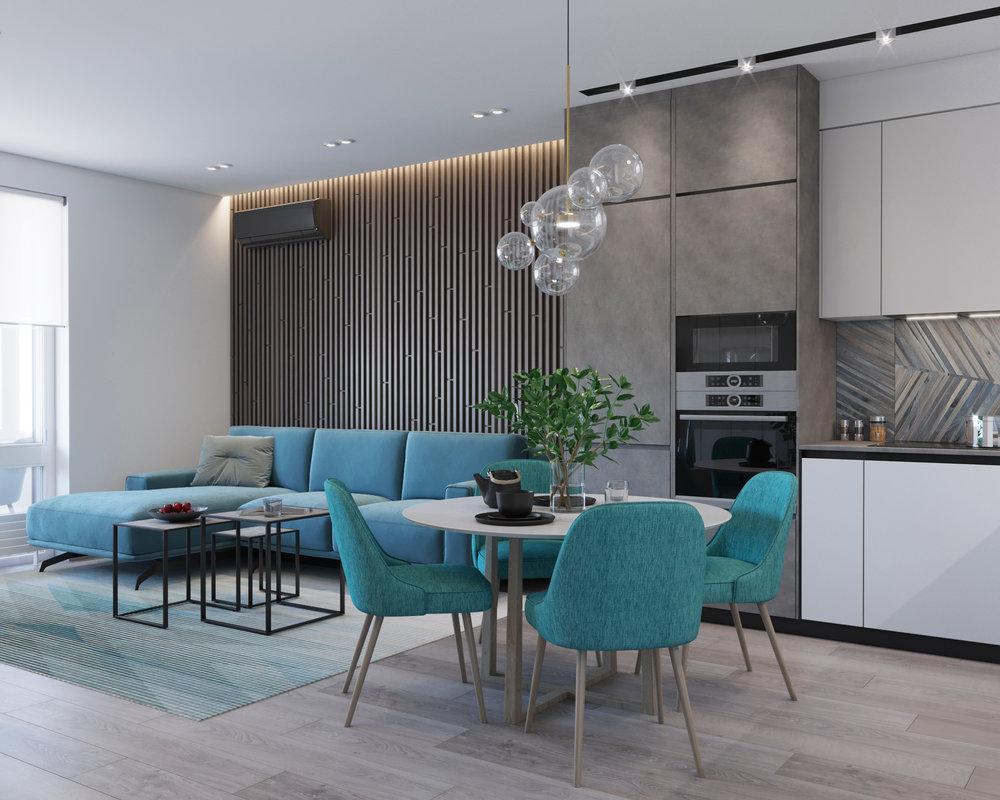 "TURQUOISE ACCENTS    Residential complex ""Povitroflotsky"", Kiev, Ukraine    2018"