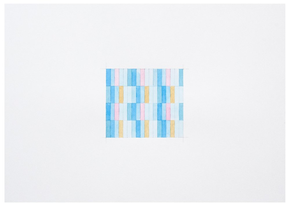 A series of gouache drawings on paper reinterpreting a minimalist grid with delicate forms of repetitive patterns