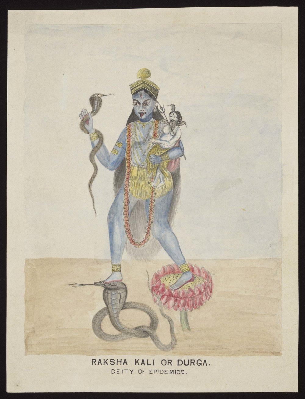 "Raksha Kali or Durga - ""Deity of Epidemics"", watercolour, 1920"