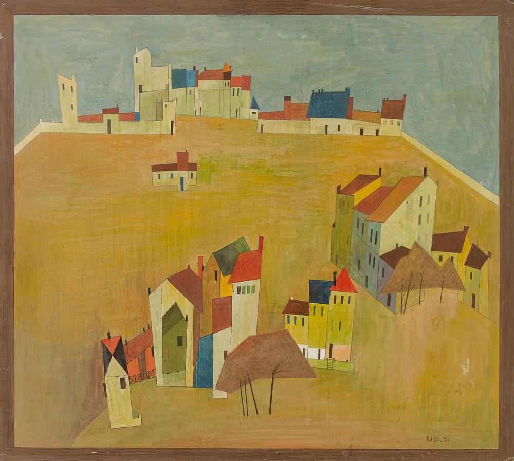 S H Raza's  Paysage Provencal - I (Cagnes), 1951. Courtesy Saffronart.