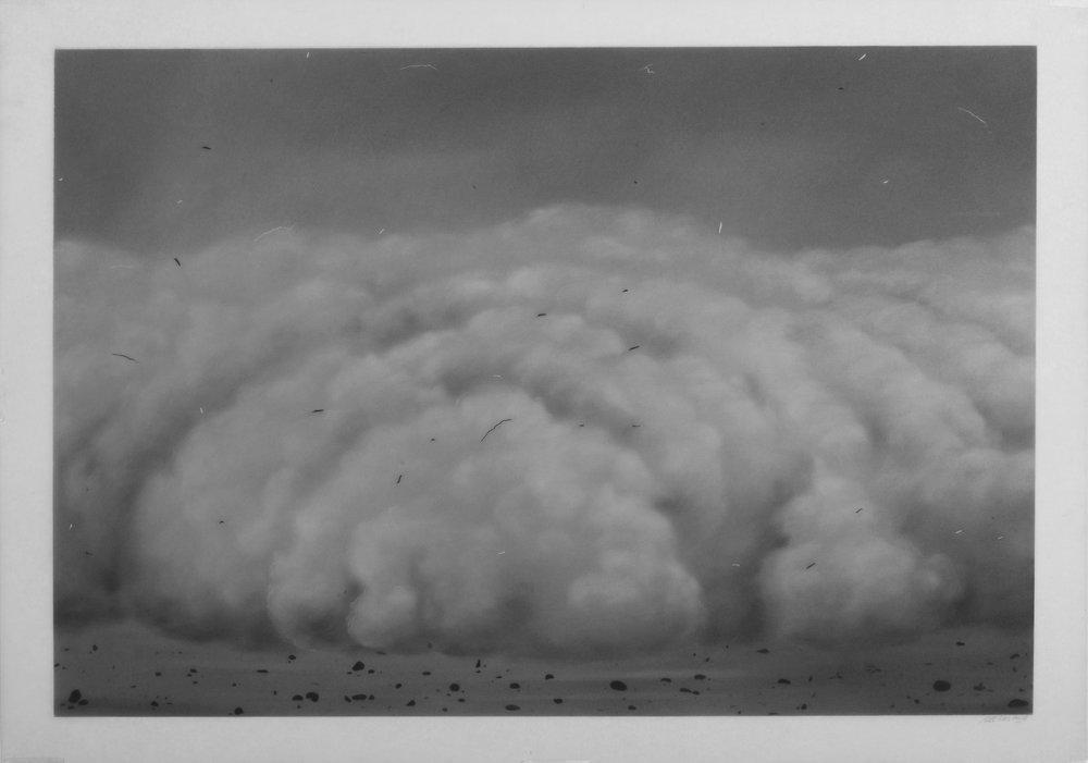 Ali Kazim,  Untitled  (Storm Series), 2018. Dry pigment on mylar. Courtesy of the artist.