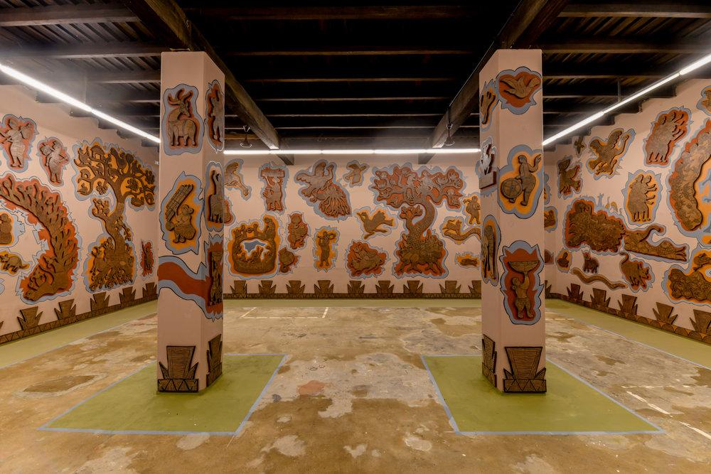 Durgabai and Subhash Vyam, installation view at Kochi-Muziris Biennale 2018, courtesy of Kochi Biennale Foundation