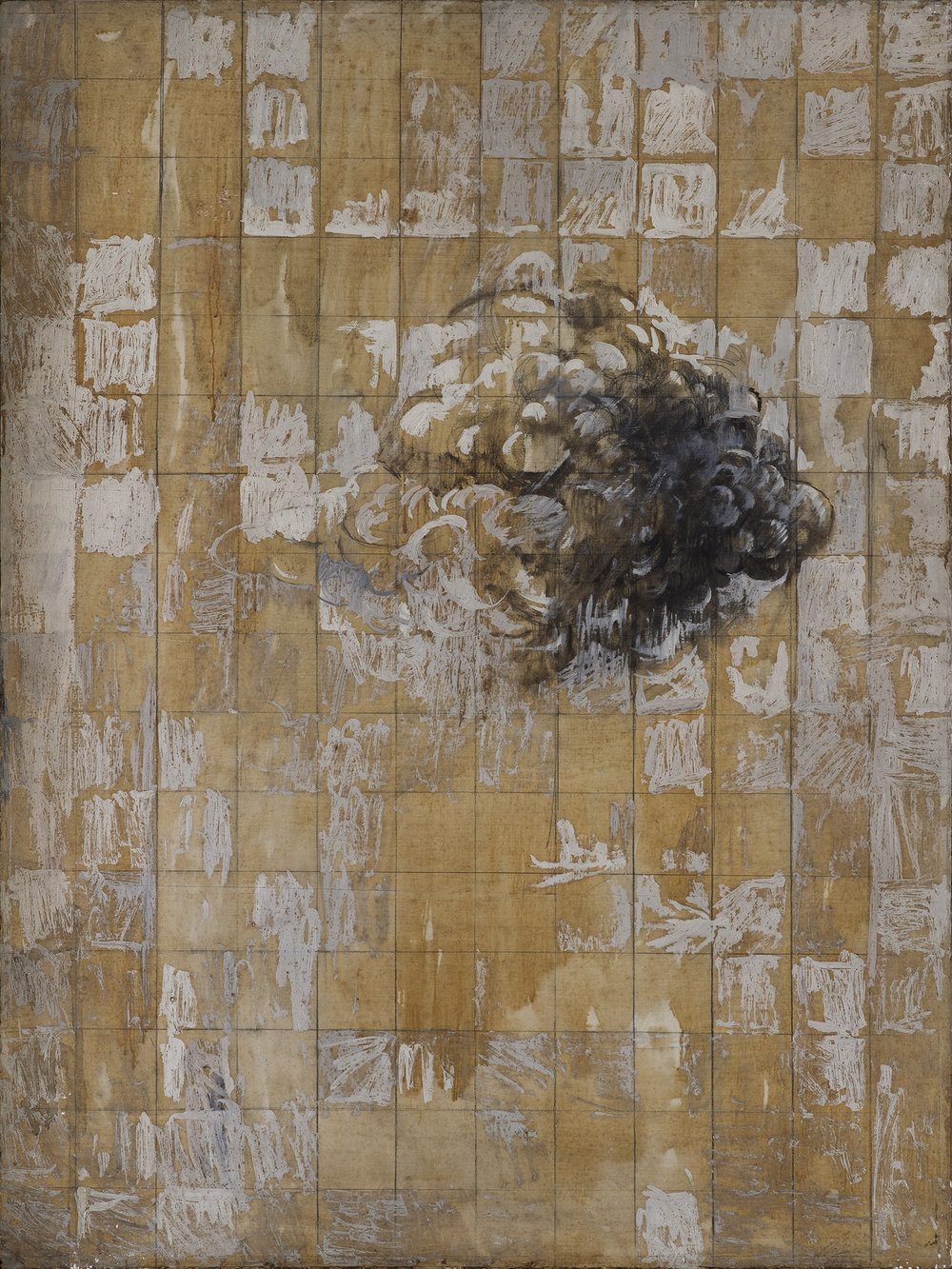 Untitled, oil and graphite on board, 91.5 c 122 cmm, 1981. Courtesy of Nurjahan Akhlaq. Photography Asif Khan & Richard Seck. The grid technique employed here was traditionally used for proportion in Mughal miniature paintings.