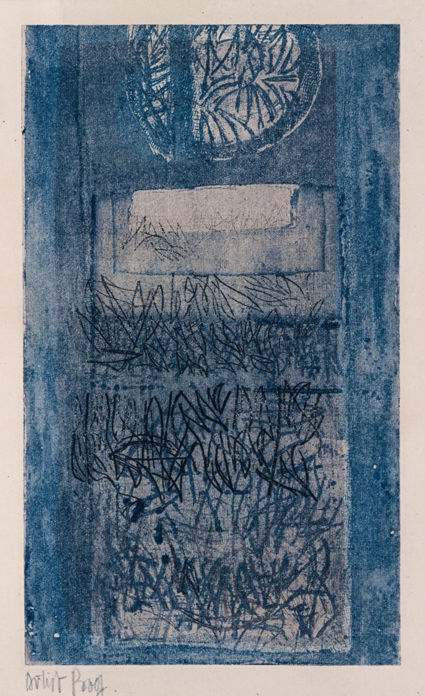 Untitled, Viscosity print 14.5 x 24 cm (plate size), c 1966. Courtesy of Nurjahan Akhlaq. Photography Asif Khan & Richard Seck.