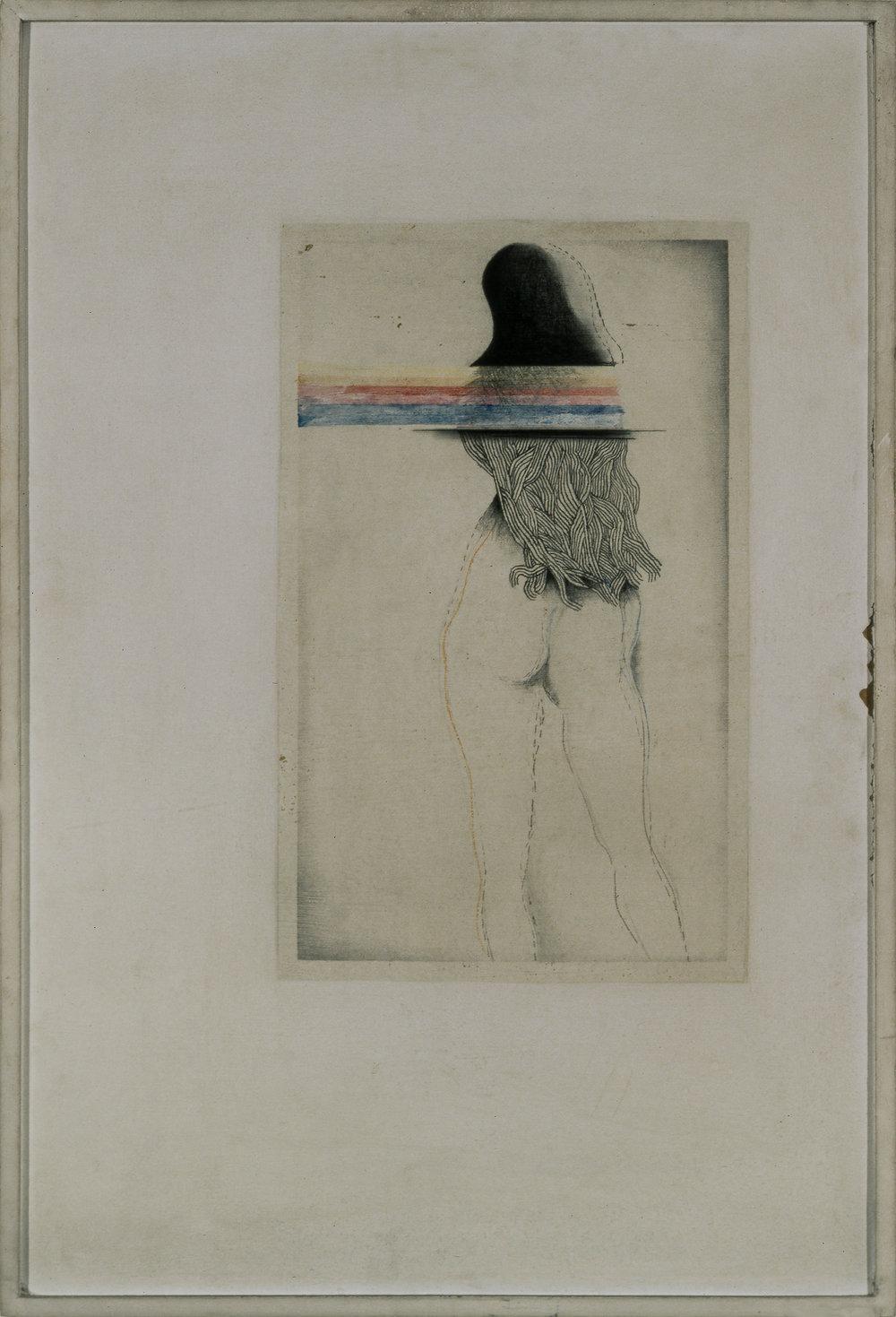 Untitled, Mixed media on board 50.8 x 76.2 cm c. 1970. Courtesy of Nurjahan Akhlaq. Photography Asif Khan & Richard Seck.