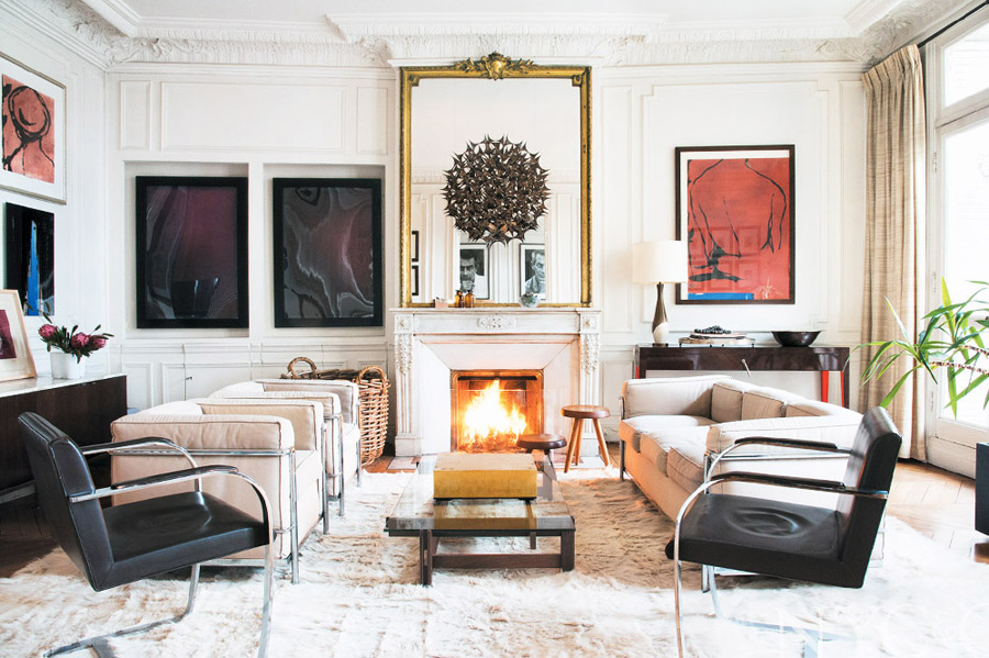 photographer-apt-in-paris-Stephane-Kossmann-living-room-fireplace-Mies-chairs-Brno-art-soft-white.jpg