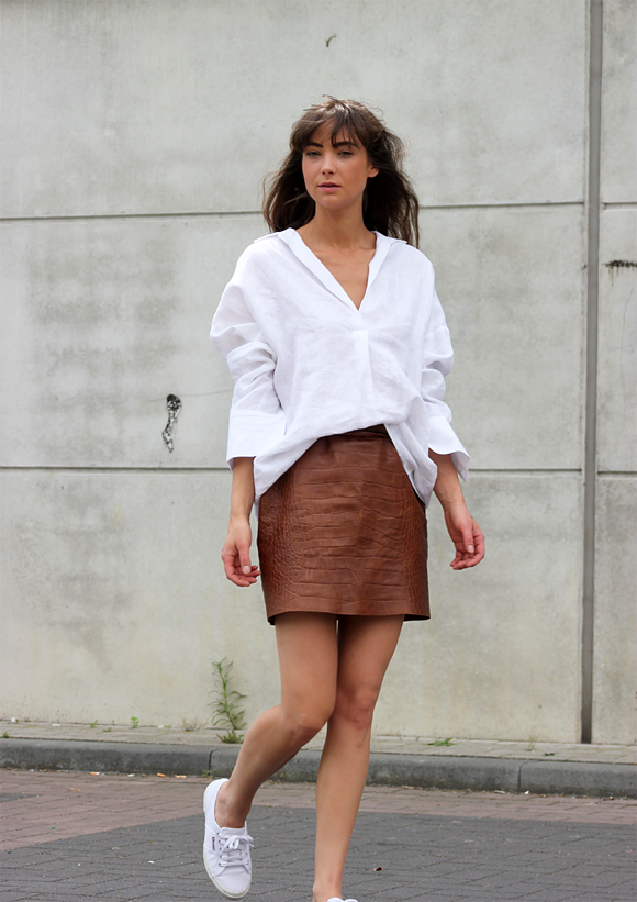 effef3266ff Oversized Shirt   a Leather Skirt.