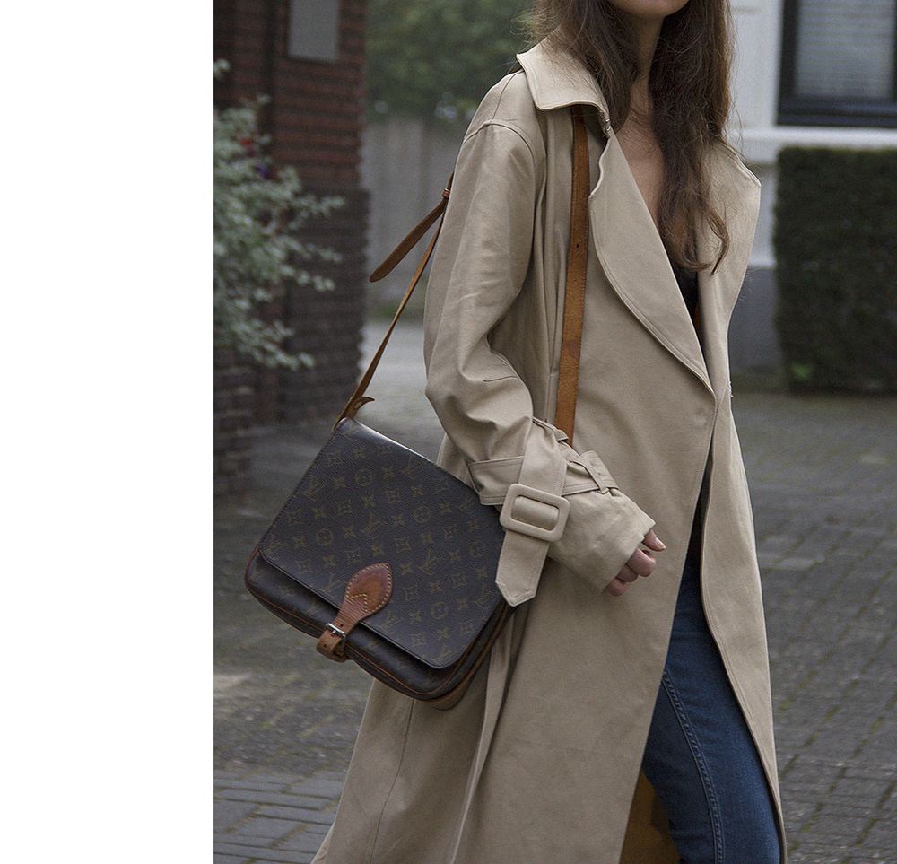 Hm Trend trenchcoat, Matin Studio silk top, Cos denim, Ralph Lauren loafers, Louis Vuitton bag 3.png
