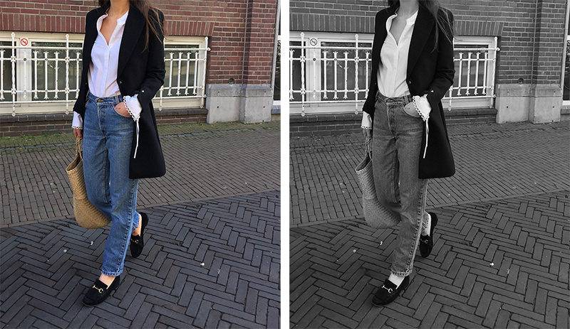 Mango blazer and shirt, Vintage Levis, Gucci loafer 5.png