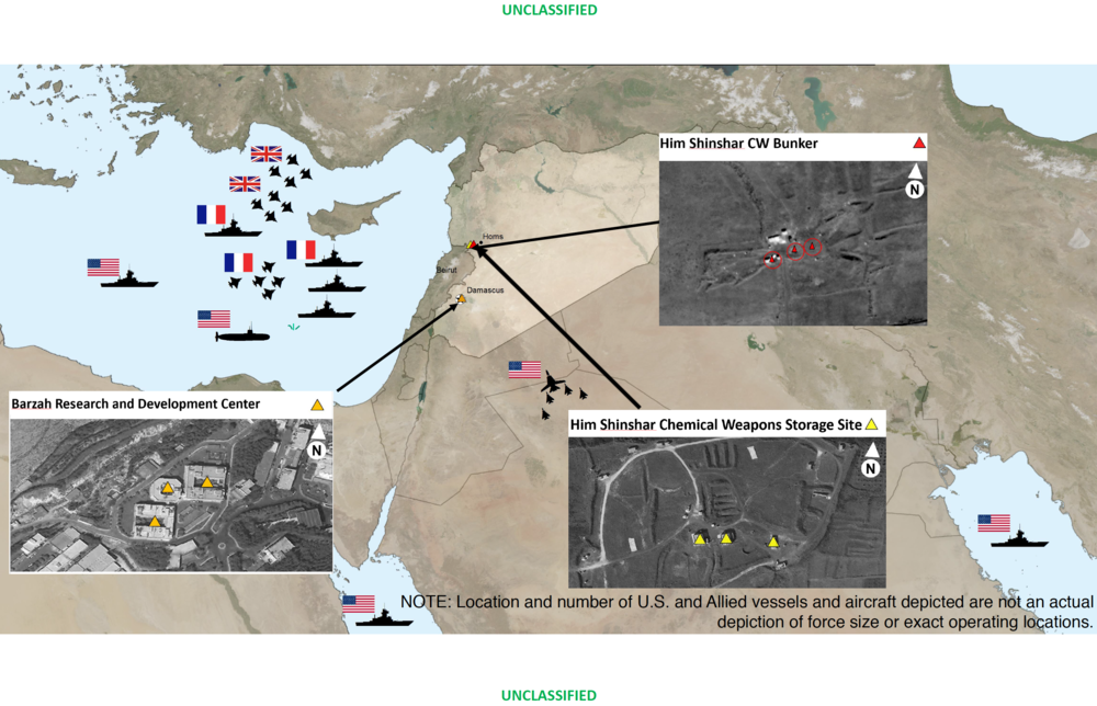 Location and aerial imagery of Coalition strikes in Syria, 13 April 2018   . US Department of Defense