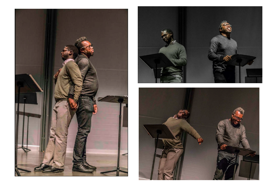 "Nasir Terry and Carlos Sirah in a staged reading of ""Rain"" by Korde Tuttle at Brown University."