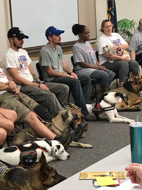 13 Members of the Midwest Battle Buddies, Inc.brought their service dogs to our meeting and explained their program and how it impacted the lives of these veterans. One member demonstrated how his dog followed commands and how he helped him get to his feet after he was on the ground.