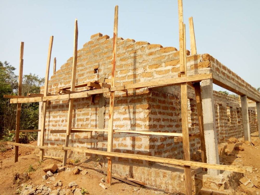 The new school structure in its building stages.