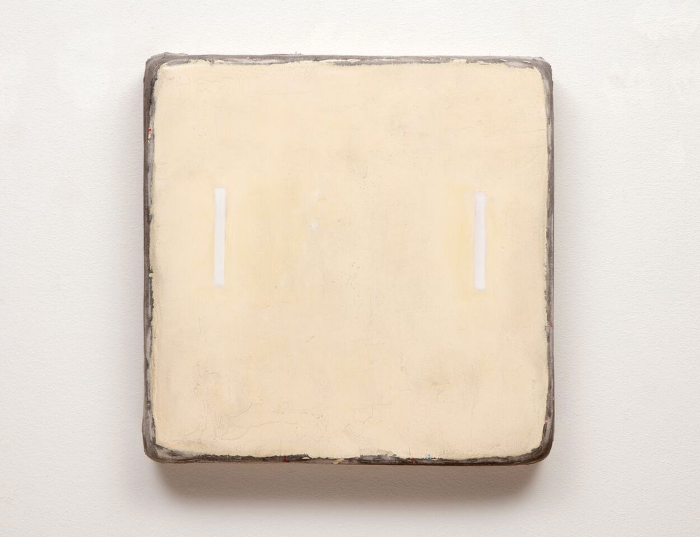 Otis Jones   Yellow with Two White Rectangles  2015   Mixed media on canvas laid on wood panel   61 x 61 x 7.6 cm
