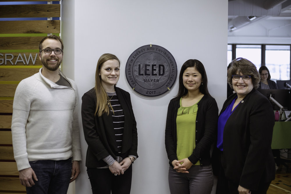 Pictured left to right: Associate Principal Jason Evans, Ashley McGraw; Principal Susanne Angarano, Ashley McGraw; Project Administrator Yukari Treible, Ashley McGraw; and Director Tracie Hall, New York Upstate U.S. Green Building Council