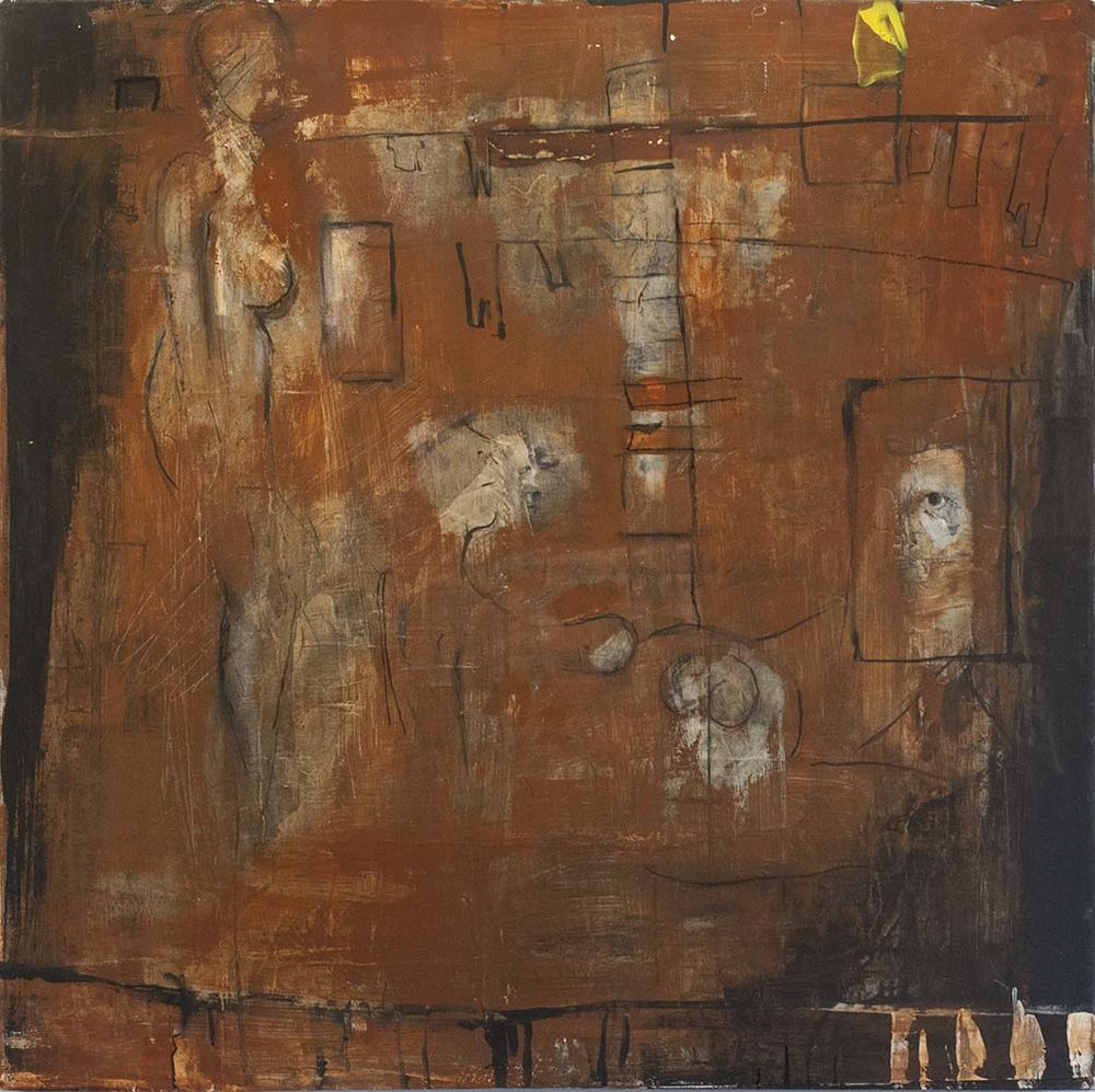 INWOOD NYC, 2016, mixed media & acrylic on canvas, 20 x 20 inches