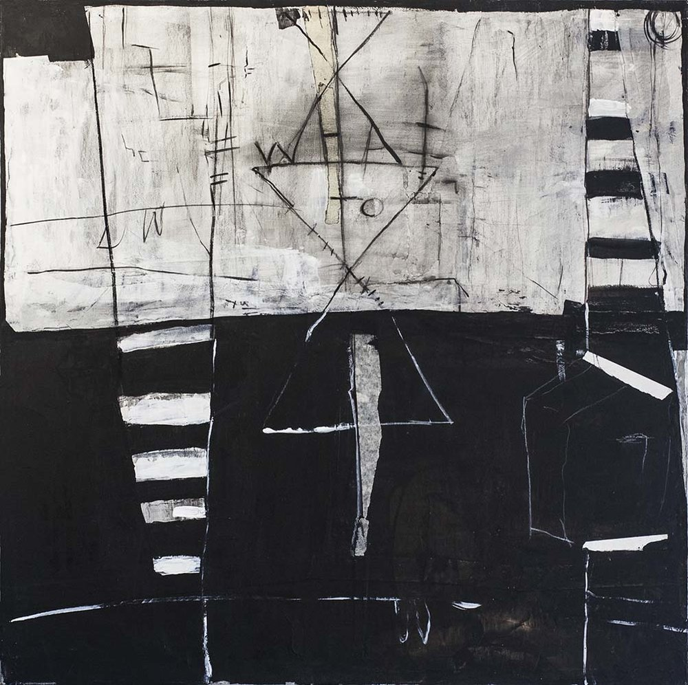 DIVISION, 2016, mixed media & acrylic on canvas, 20 x 20 inches