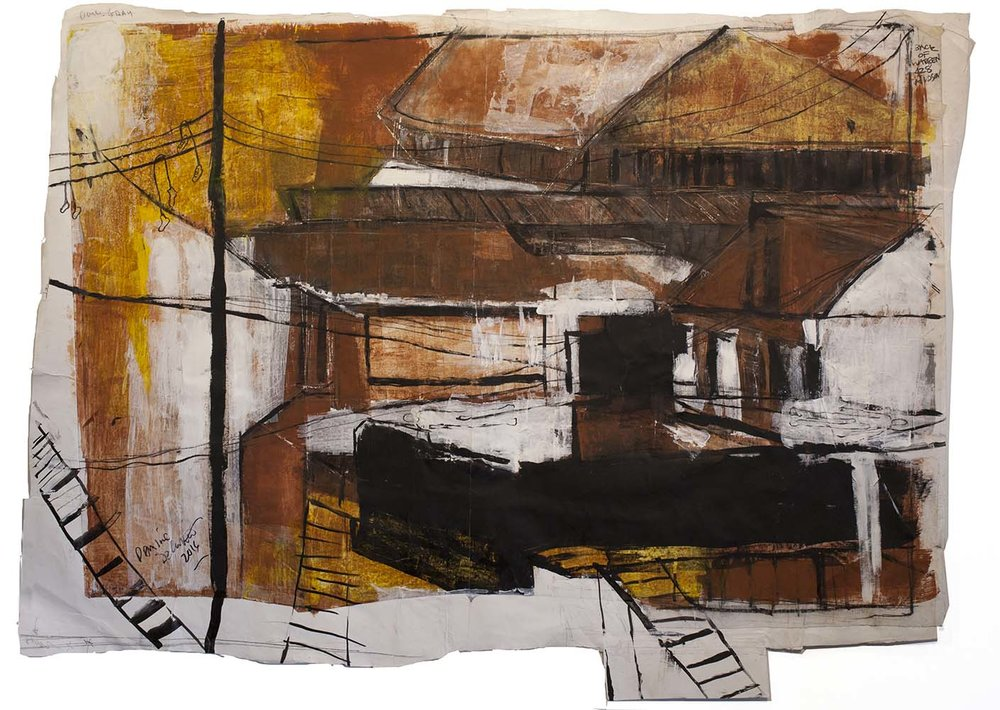 INDUSTRY I, 2015, mixed media on paper, 51 x 37 inches