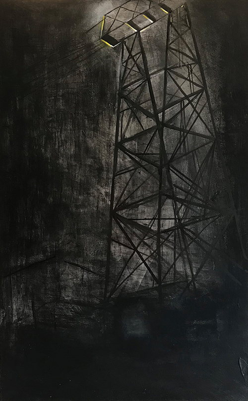 ELECTRICAL TOWER NYC, 2018 mixed media & acrylic on wood board, 32 x 20 inches