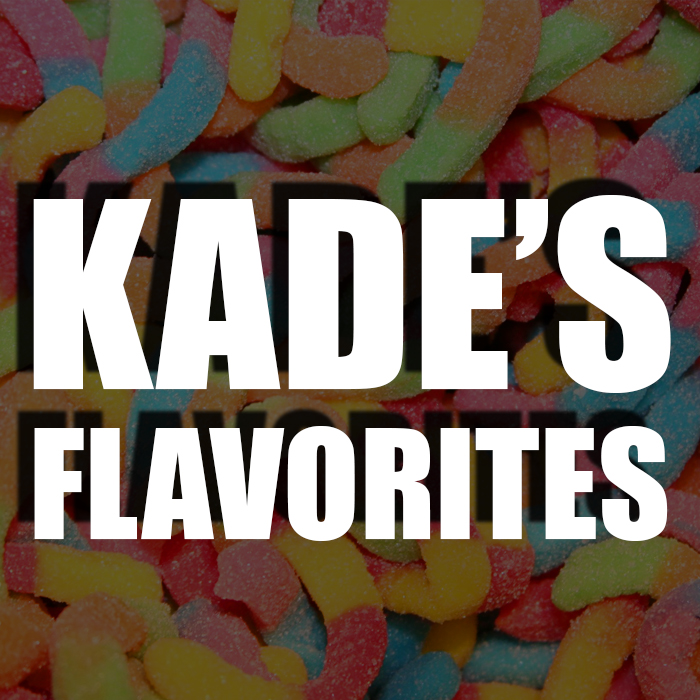 Kade's favorite juice - Kade loves candy flavors. Sour, sweet, gummy, you name it! He also can go for some of the more sour fruit juices like Grape On by Goof E-Juice. If you choose this profile, you will receive a lot of Kade's favorite candy liquids!