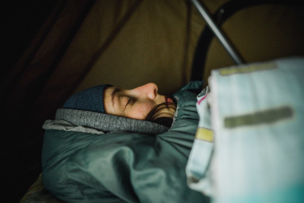 back in the cold tent