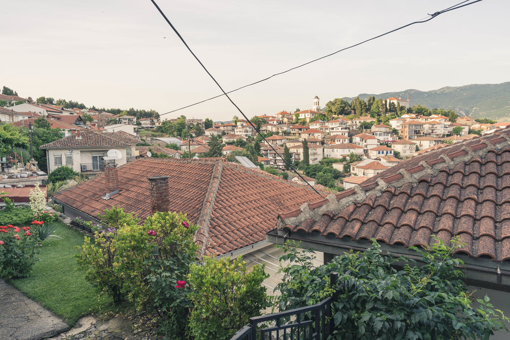 Ohrid beauty with its traditional red-tiled roofs. The city once had 365 churches, you could go in a different one each day of the year.